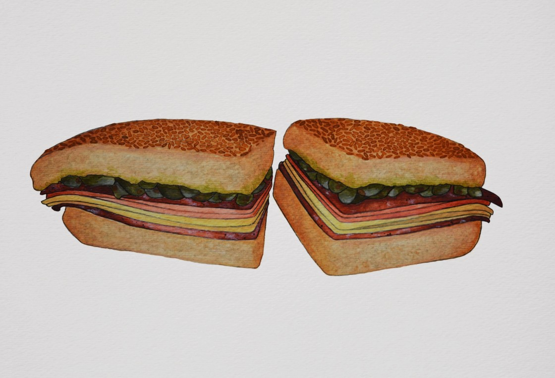 Central Grocery Muffaletta Watercolor Illustration