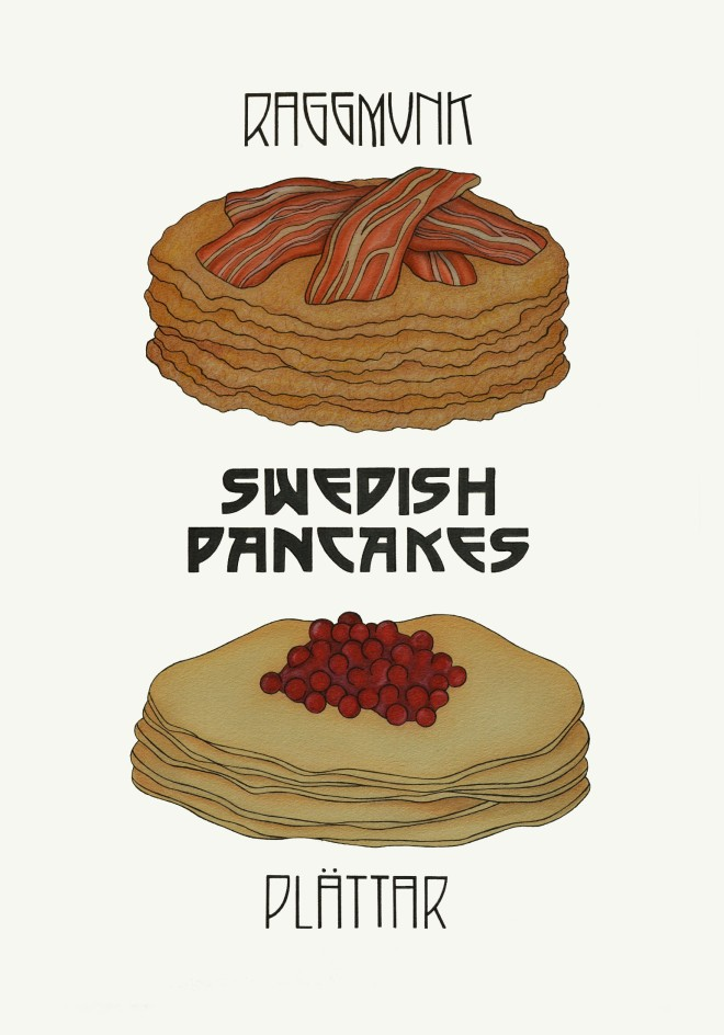 Illustration of Plattar with Lingonberries and Raggmunk with Bacon, Two Kinds of Swedish Pancake